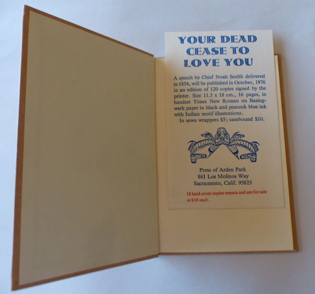 Image for Your Dead Cease to Love You / A Speech by Chief Noah Sealth Delivered in 1854