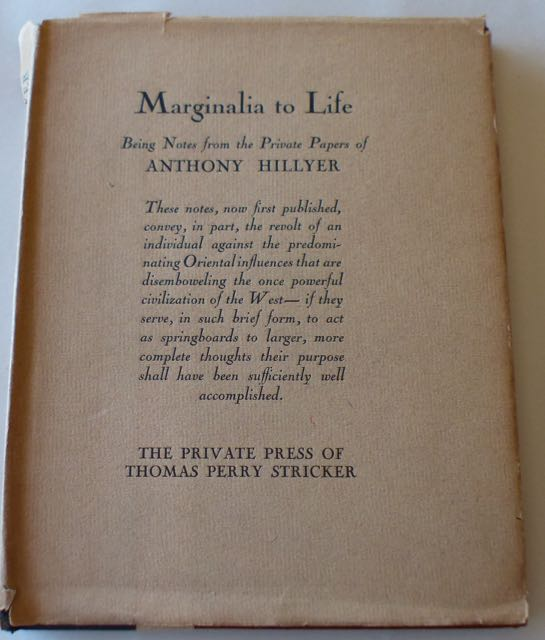 Image for Marginalia to Life / Being Notes from the Private Papers of Anthony Hillyer.