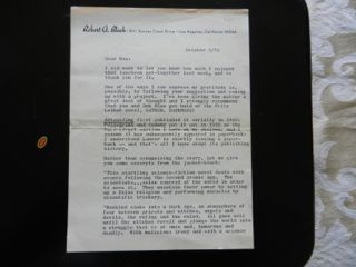 Robert Bloch: 3-page typed letter, signed.
