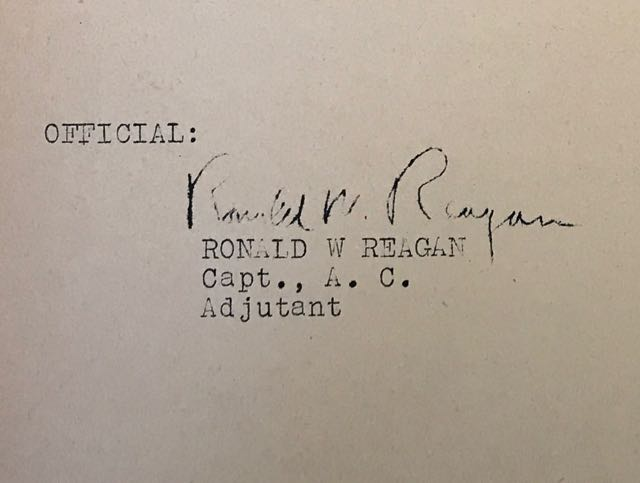Image for Original WW2 Mimeographed Military Orders signed by Ronald Reagan