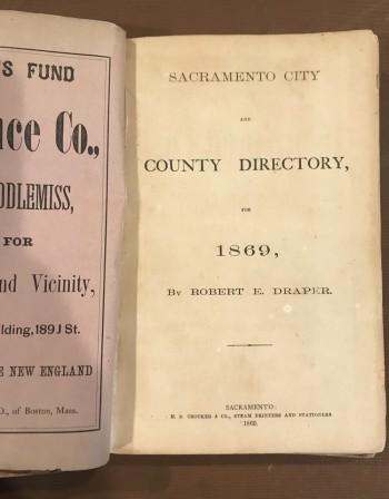 Image for Sacramento City and County Directory, 1869