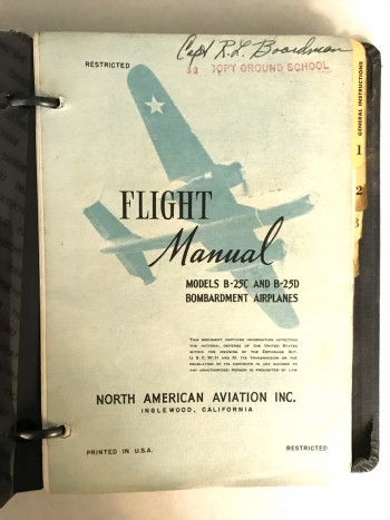 Image for Flight Manual North American Aviation Inc [Models B-25C & B25-D [Mitchell] Bombardment Airplanes. True 1st ed: Restricted Report No. 5182