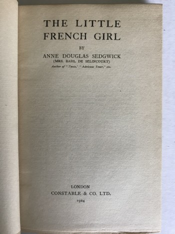 Image for The Little French Girl. [Extremely scarce first state; one of 3 copies]