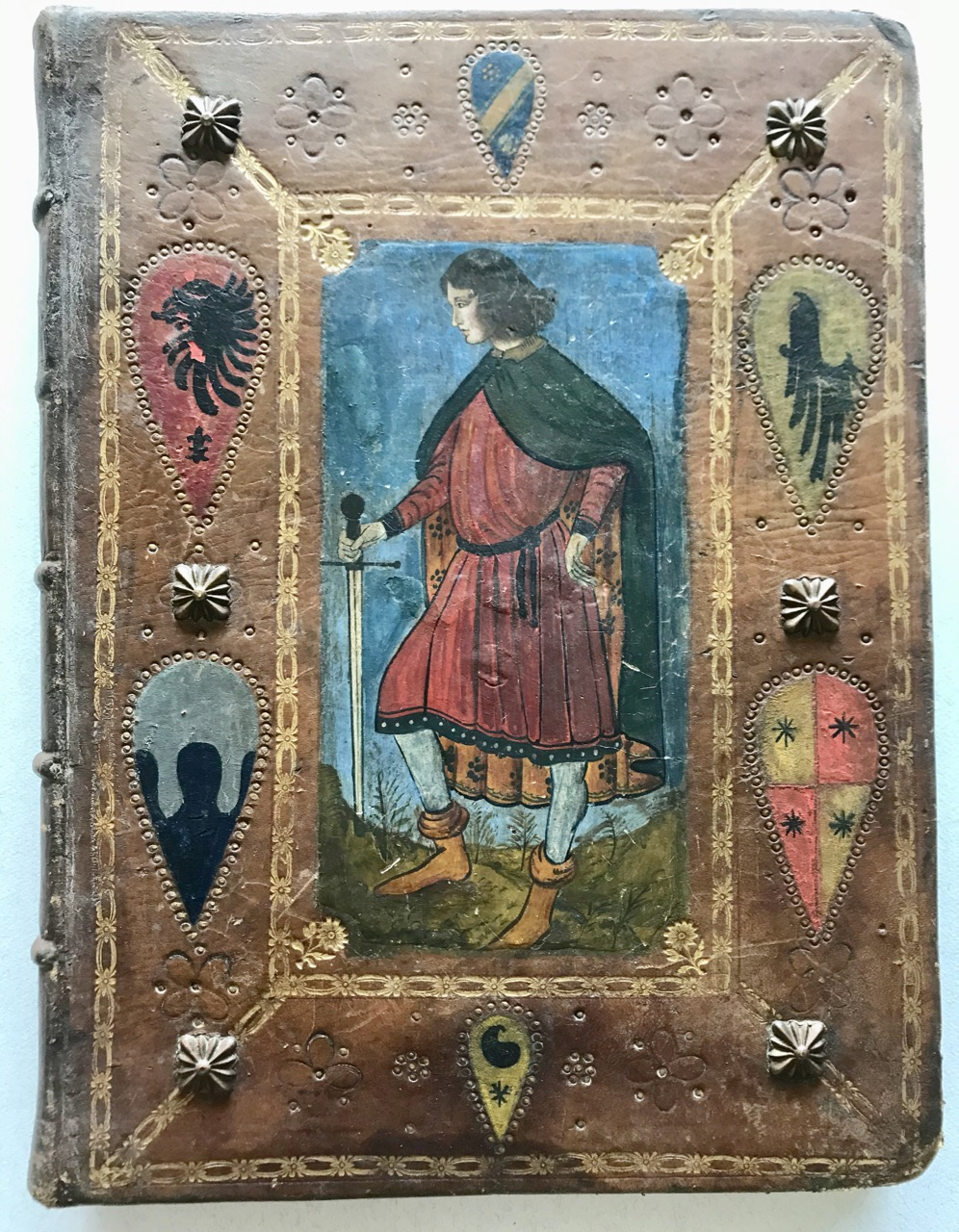 Image for 19th century hand-painted leather binding / journal or ledger.