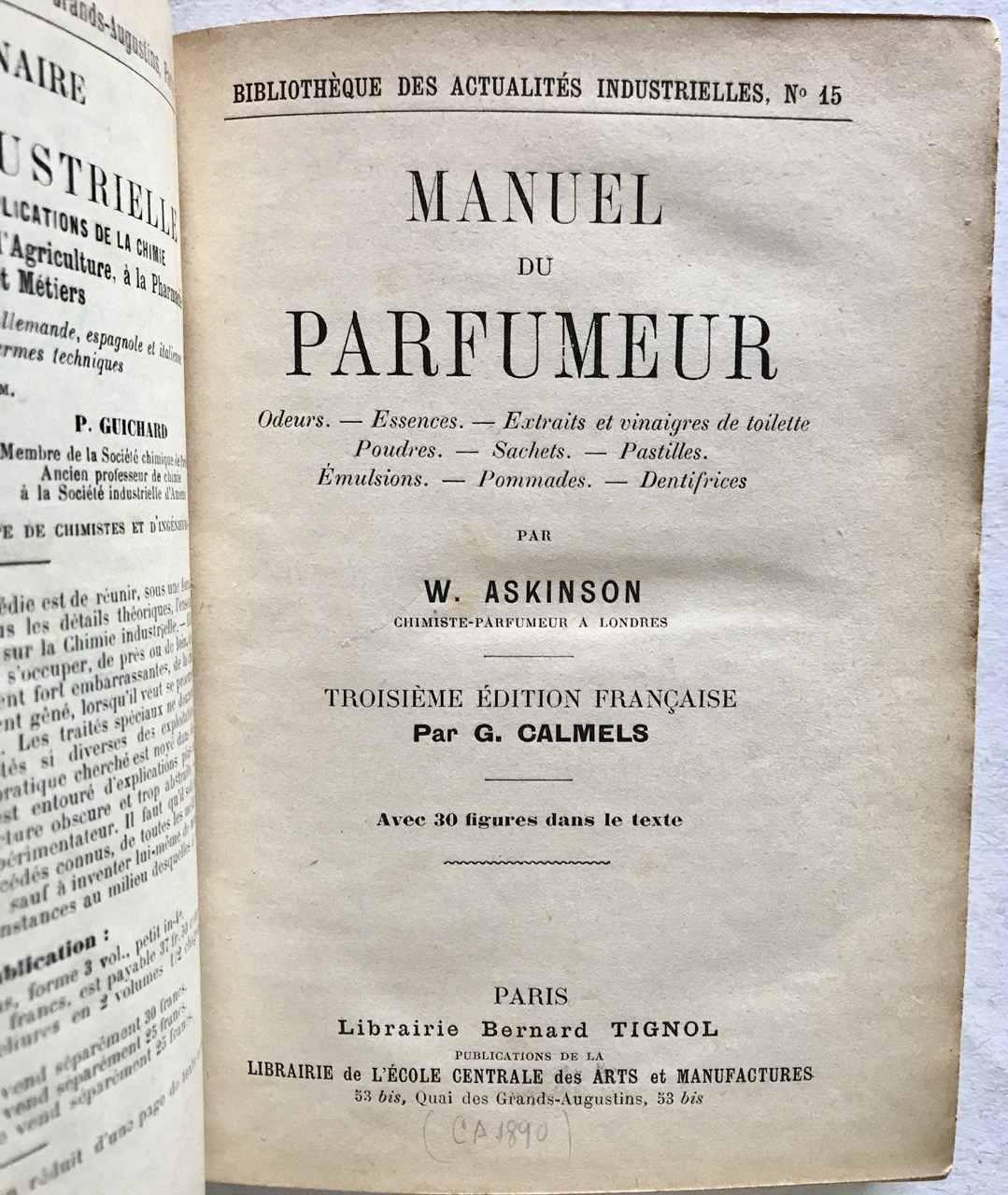 Image for Manuel du Parfumeur. Troisieme Edition Francaise [Manual of Perfume]