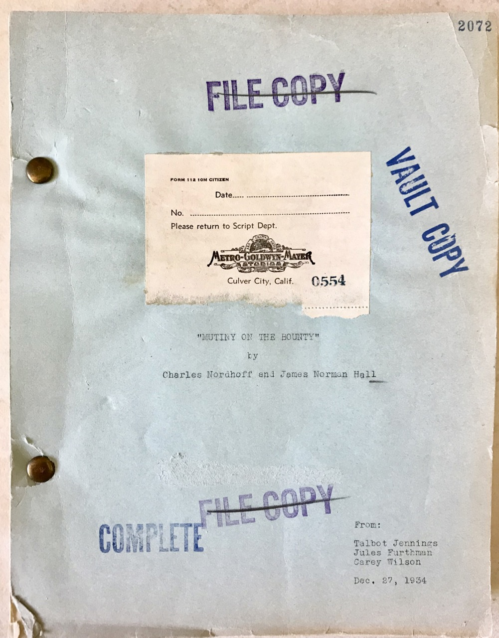 "Image for Original screenplay for the Oscar-winning 1935 film ""Mutiny on the Bounty""."