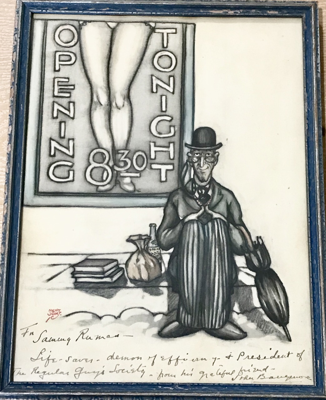 "Image for Original Watercolor Portrait of John Barrymore as ""August Topaze"" from the film ""Topaze"", inscribed by Barrymore to Assistant Director Sam Ruman."
