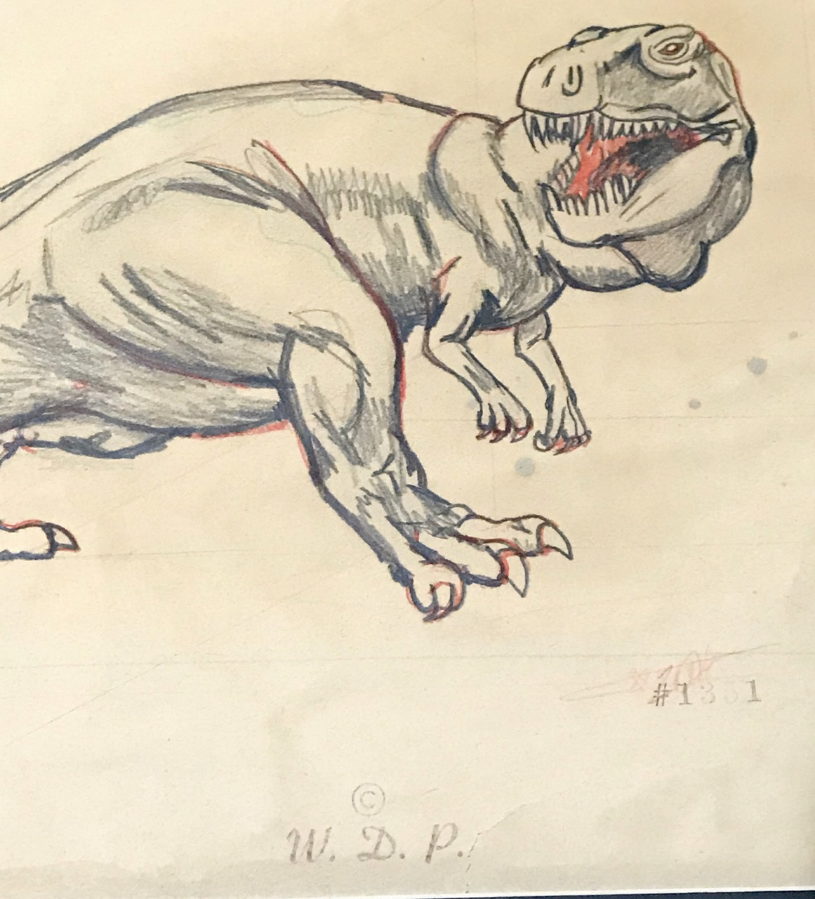 "Image for Fantasia ""Rite of Spring""-- original Concept Drawing of the Tyrannosaurus Rex 