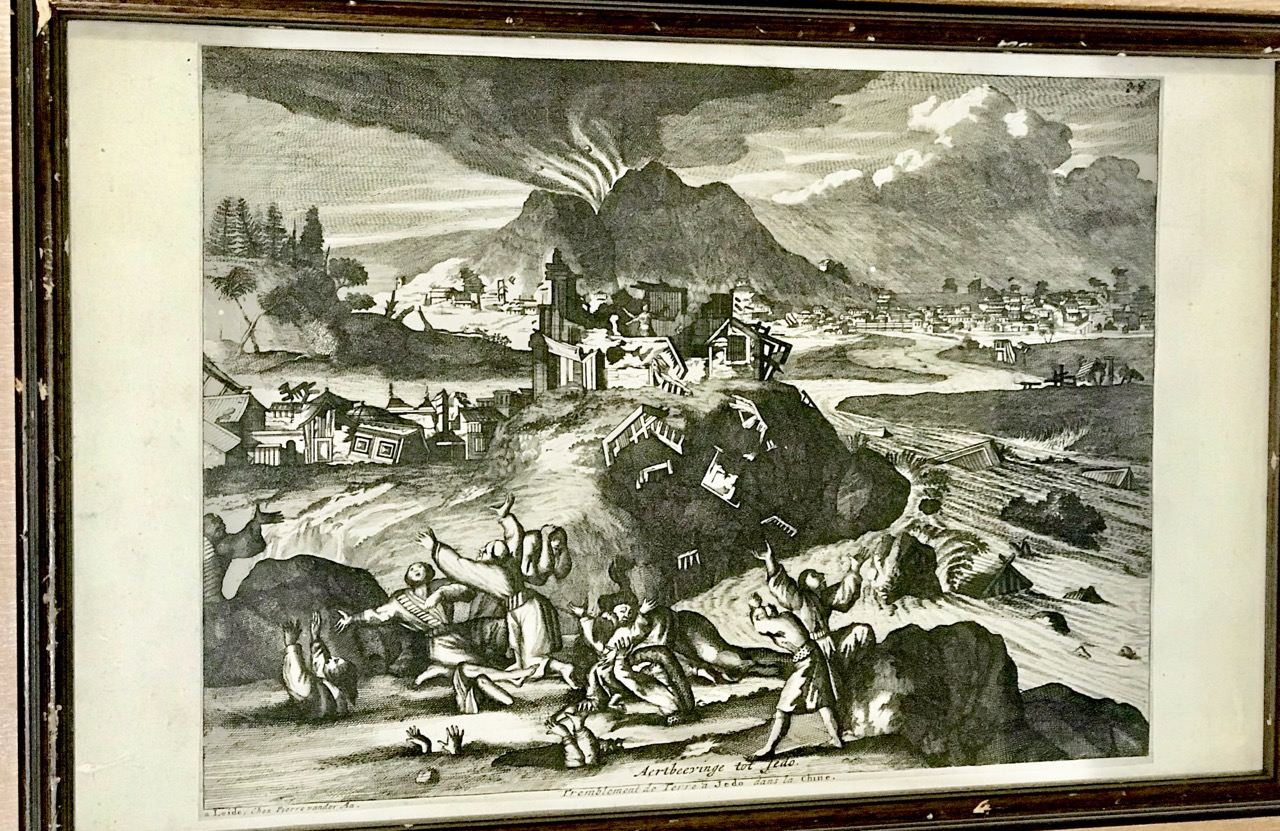 Image for Aertbeeyinge tot Jedo [Earthquake in Edo (Japan)]. Copper engraving, 1725.