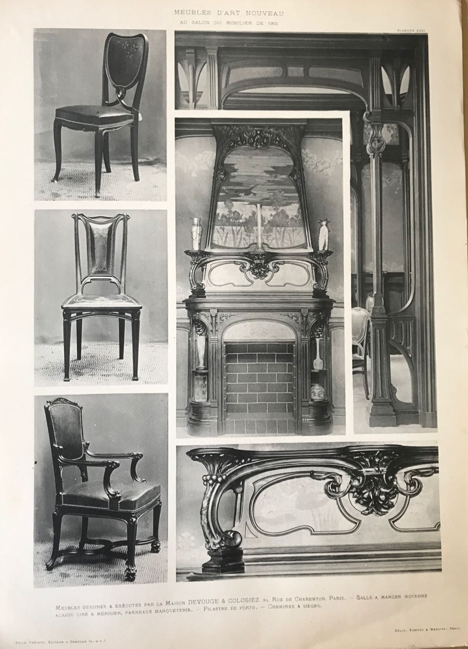 Meubles d'Art Nouveau au Salon du Mobilier de 1902. (Art Nouveau Furniture  from the 1902 Paris Salon of Furniture)