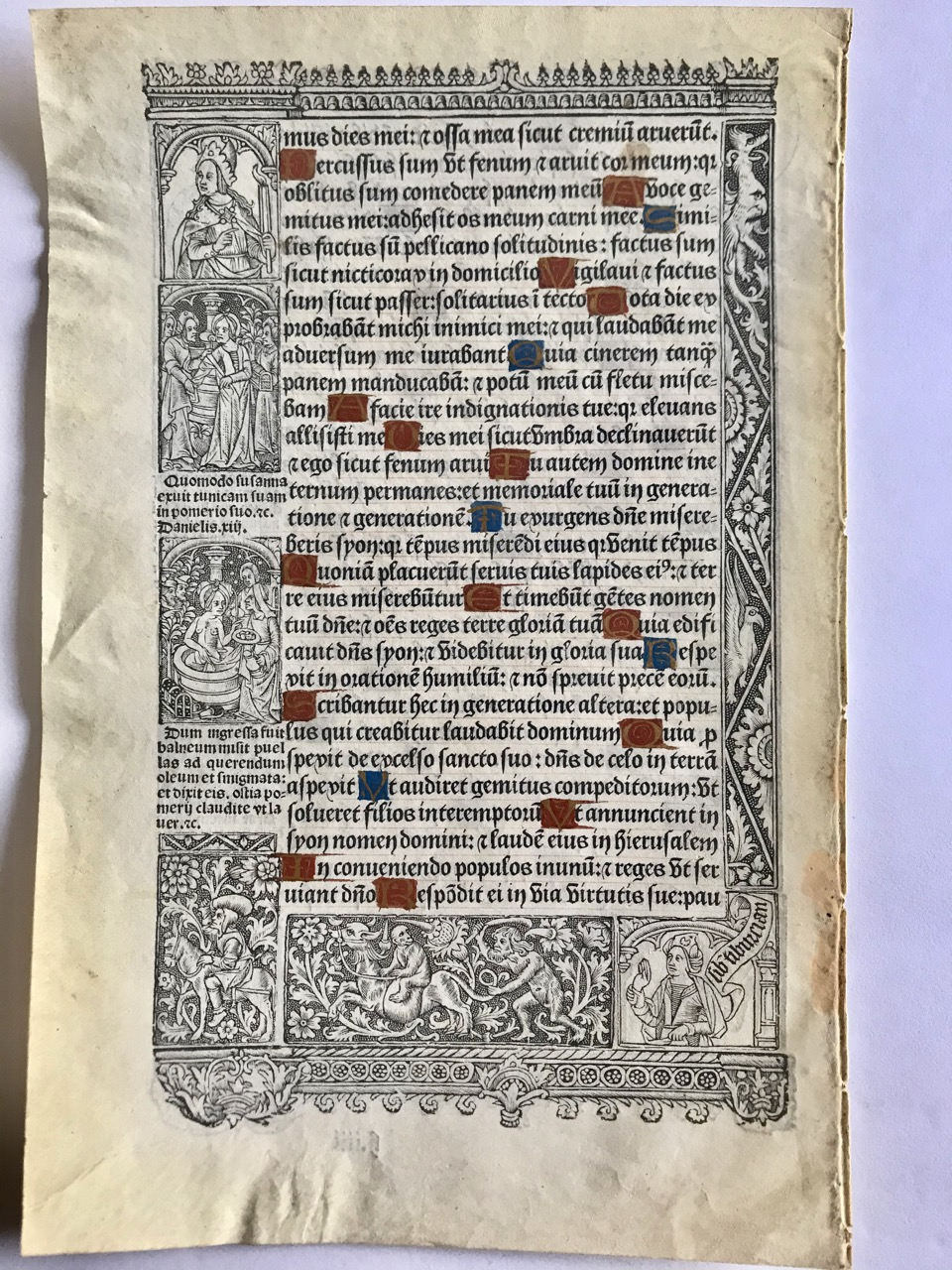 Image for [Leaf Book] Illustrated French Book of Hours; 16th century - two-sided original, ornamental