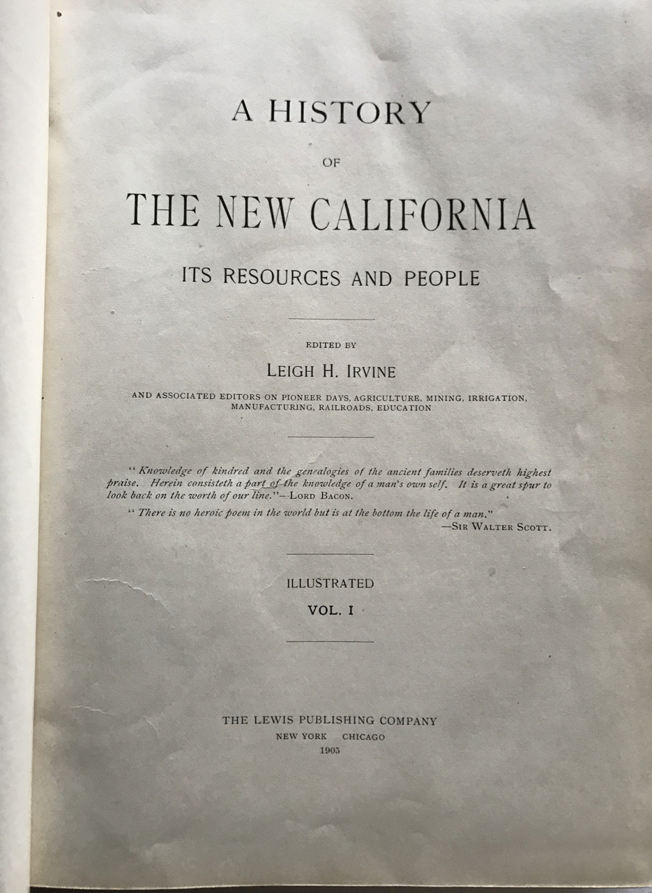 Image for A History of the New California Its Resources and People [Vol 1 only]